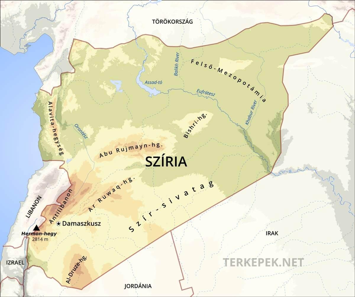 szíria térkép Szíria domborzati térképe szíria térkép